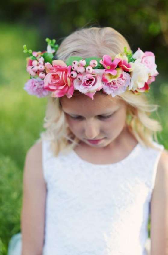 little girl hairstyle with Pink Roses