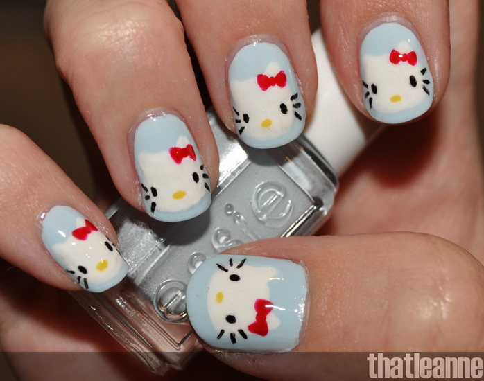 pictures of hello kitty nail designs
