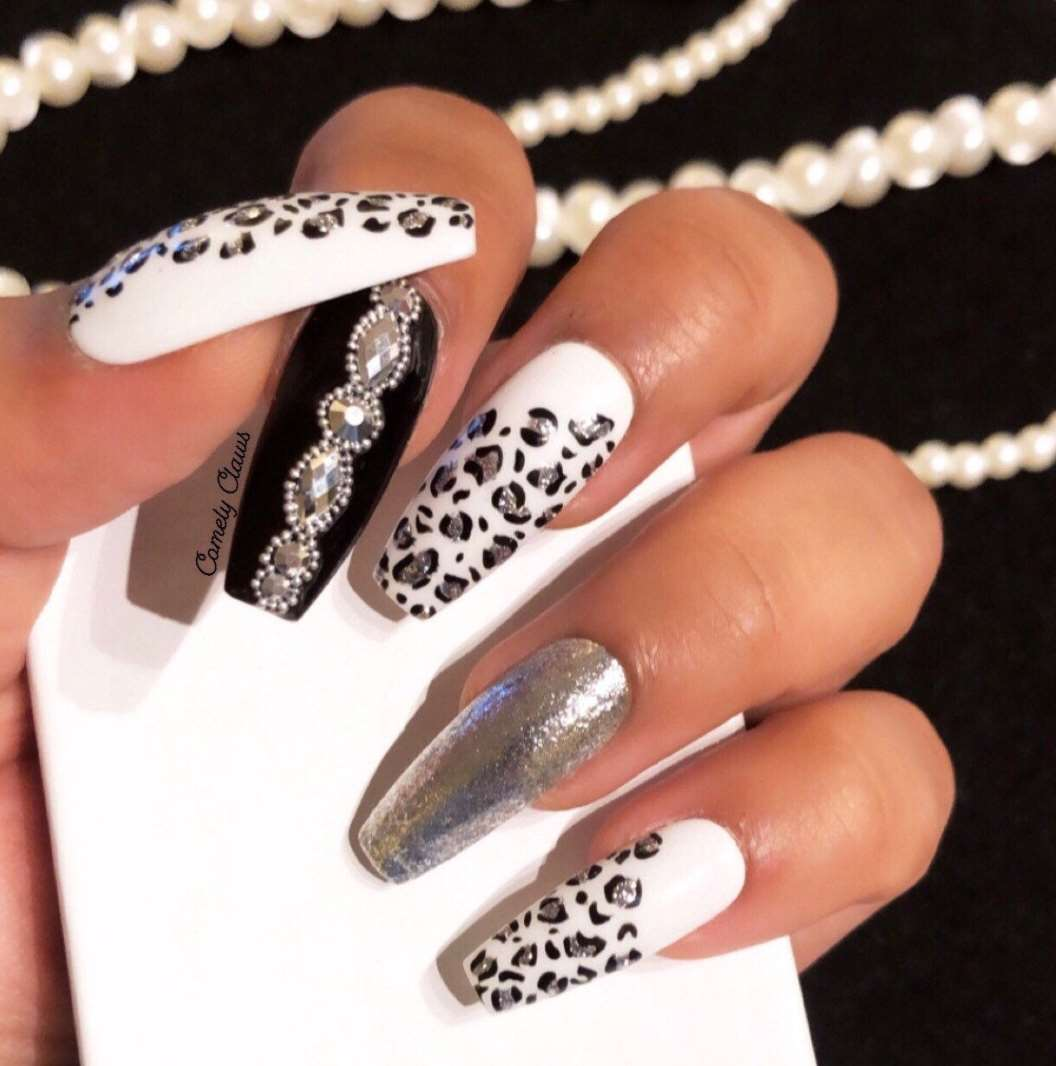 animal print long nail designs