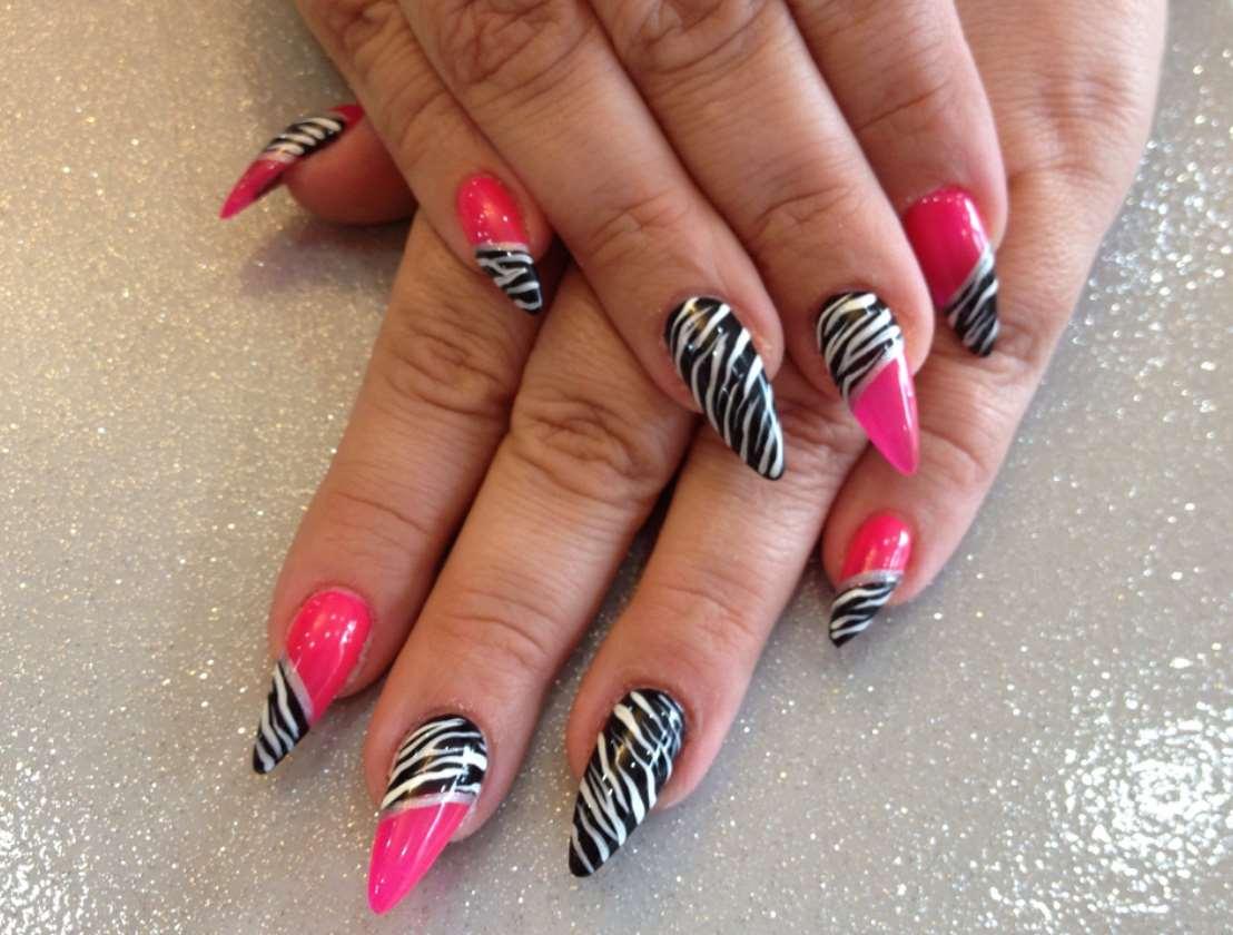 pink animal print nail designs