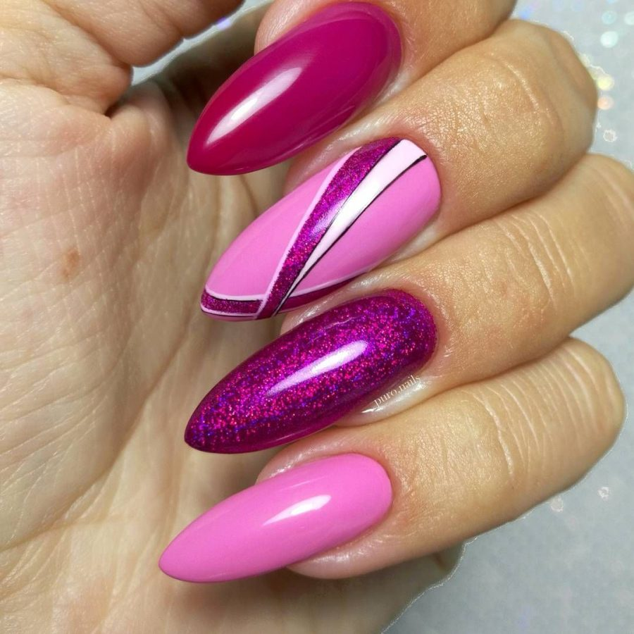 pink and purple summer nails