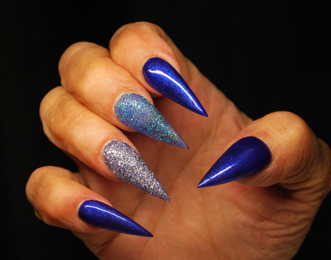 blue stiletto nails