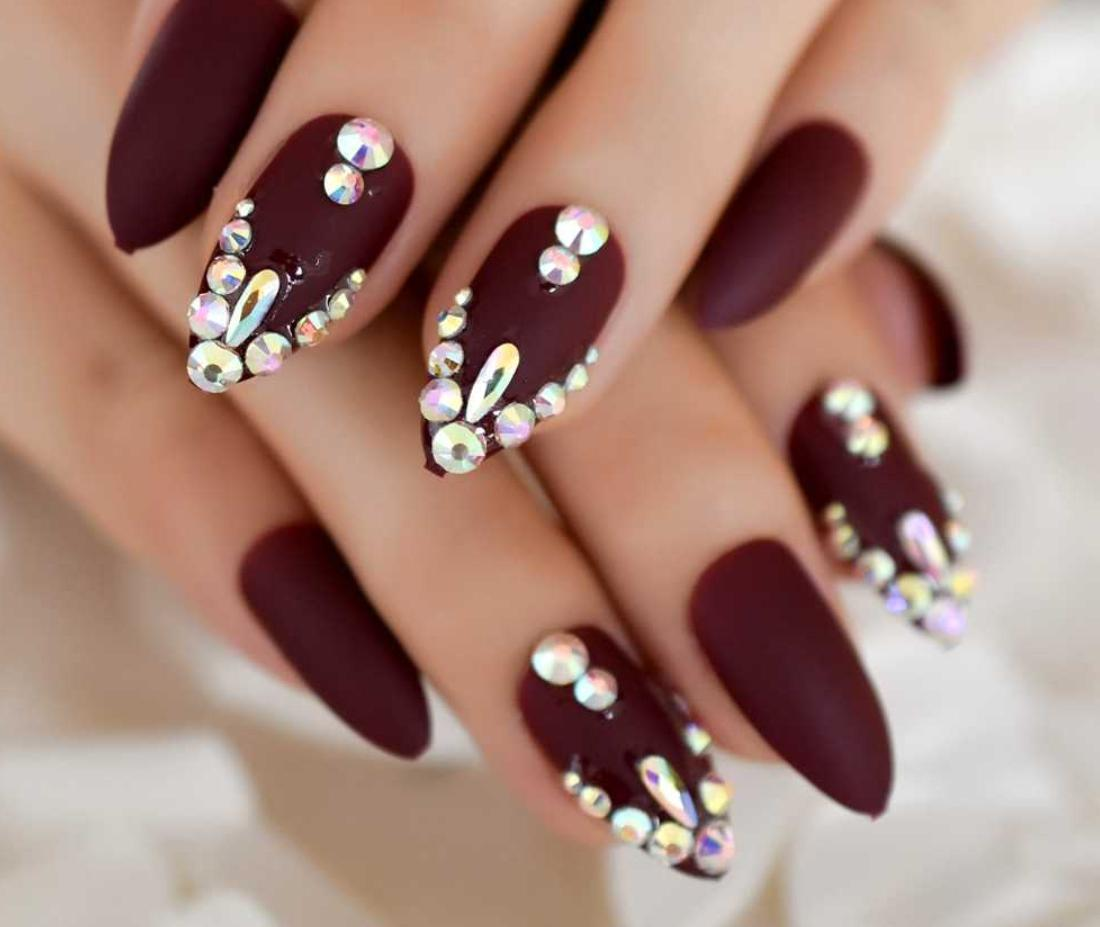 burgundy stiletto nails