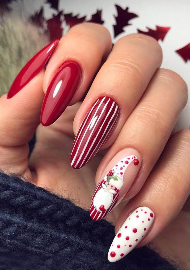 christmas stiletto nails