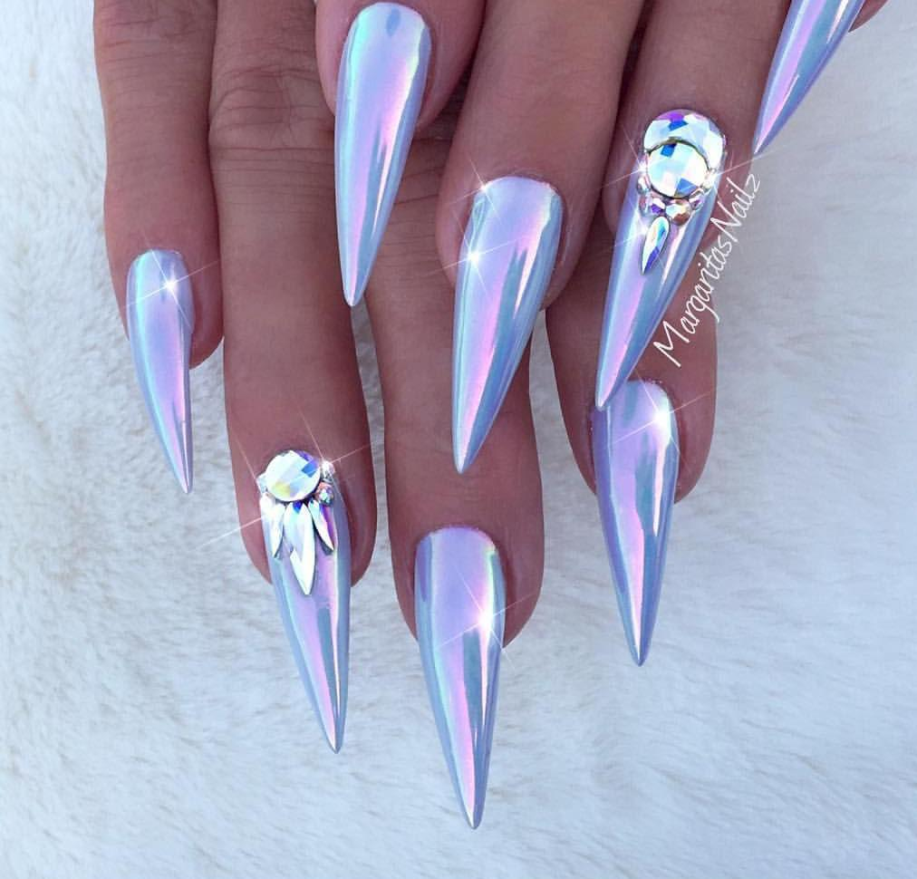 chrome stiletto nails