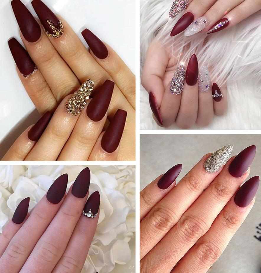 maroon stiletto nails