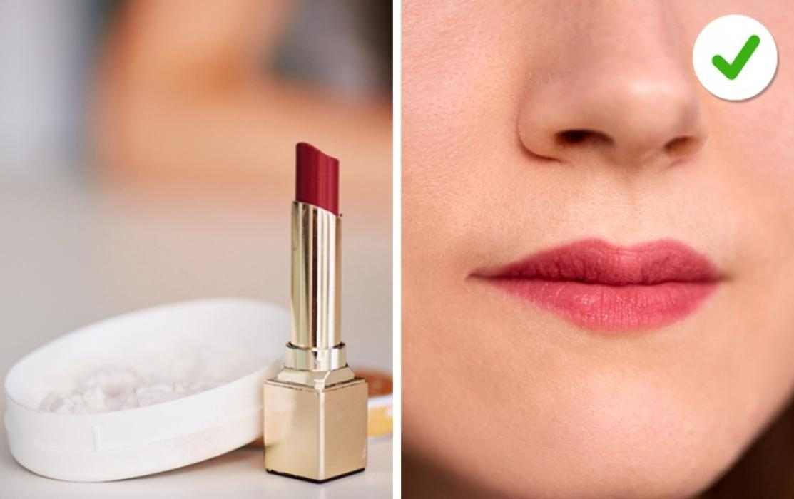 A layer of cornstarch will mattify your shiny lipstick