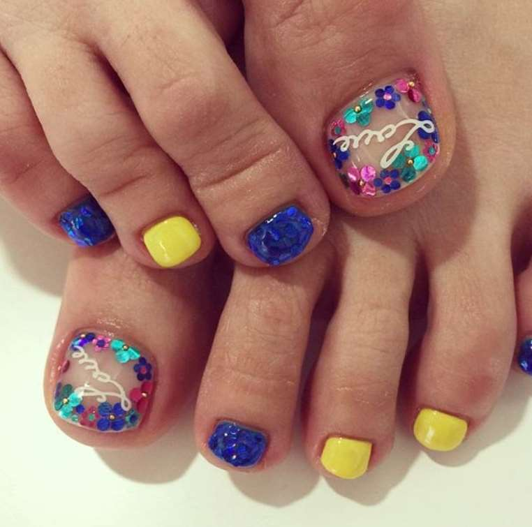Blue and yellow Toe Nails