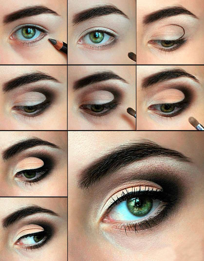 Daytime makeup for green eyes