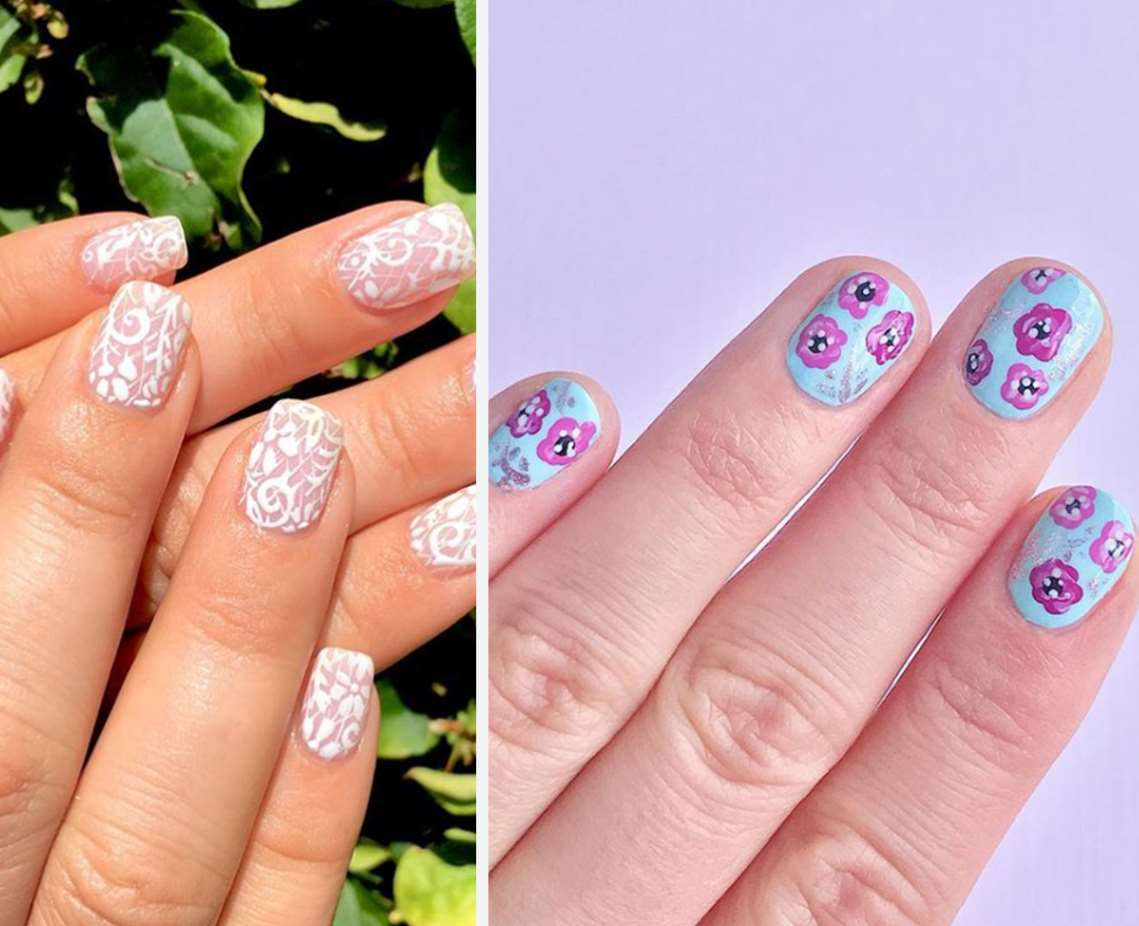 Floral prints short nails
