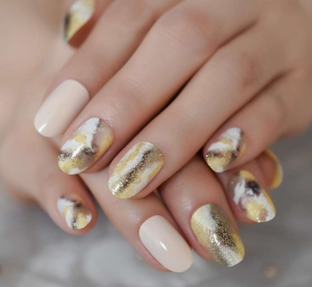 Gold and White short nails