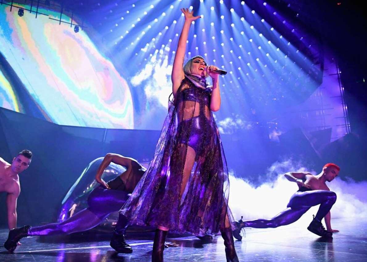 Lady Gaga Falls Off Stage on Las Vegas Show