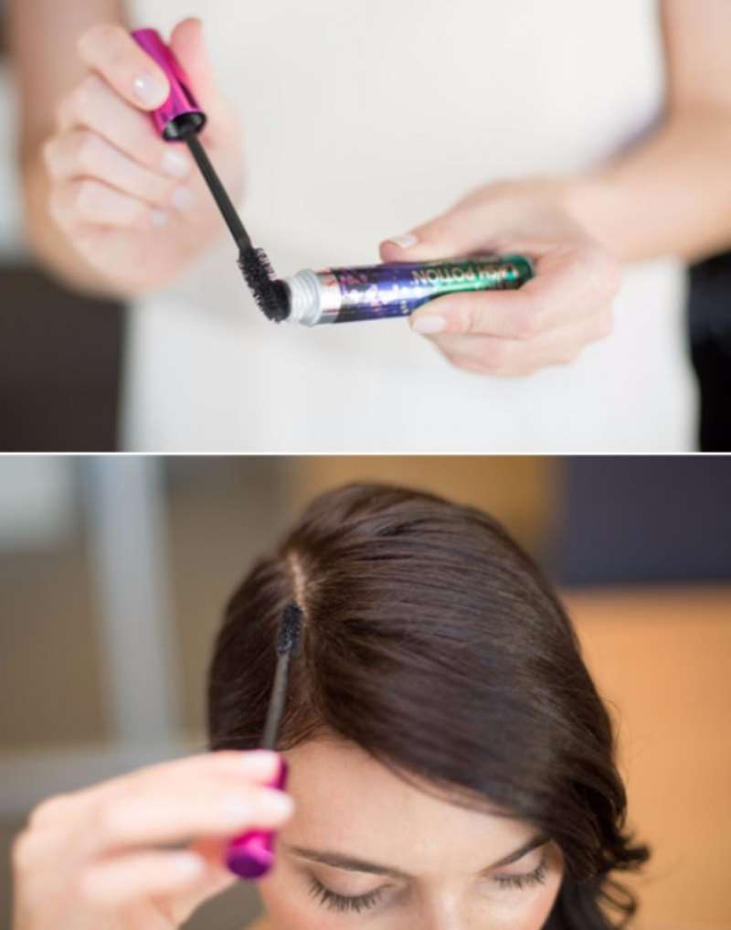 Mascara will certainly hide expanding hair roots
