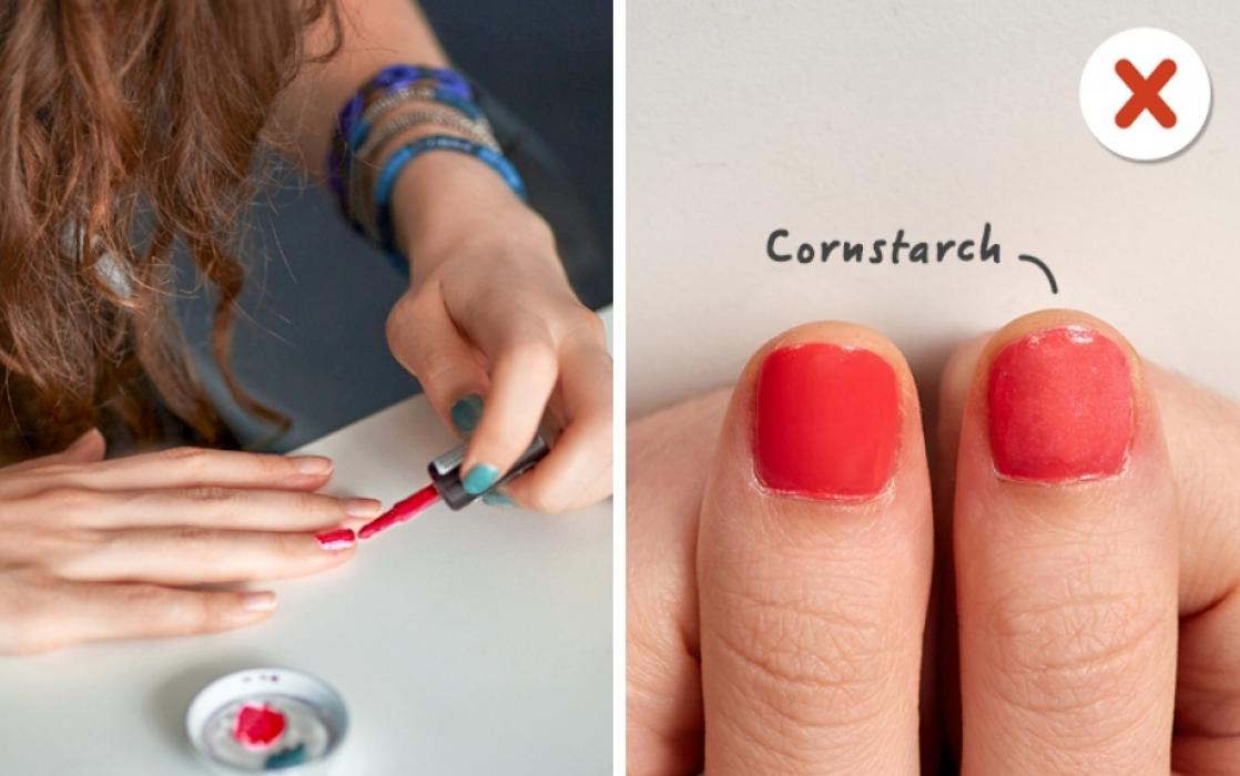 Mix your nail gloss with cornstarch and also you'll get matte nail gloss