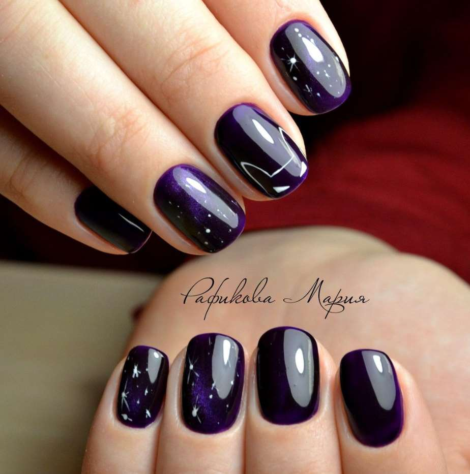 Purple short nails