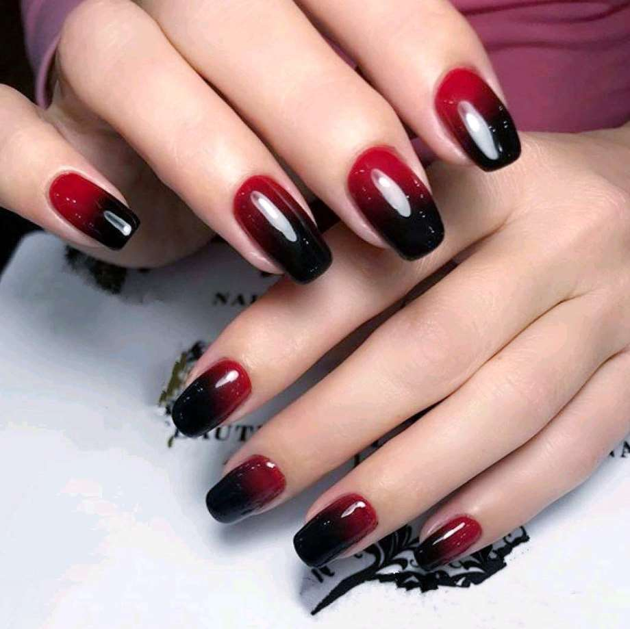 Red and Black short nails