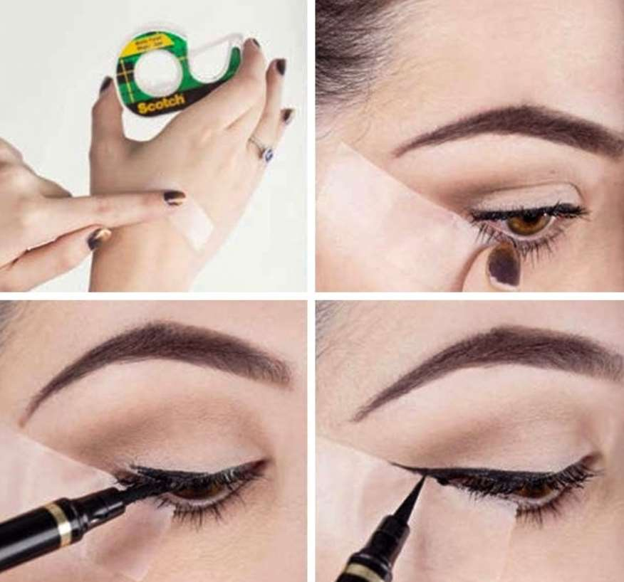 Scotch tape will certainly aid with eye make-up