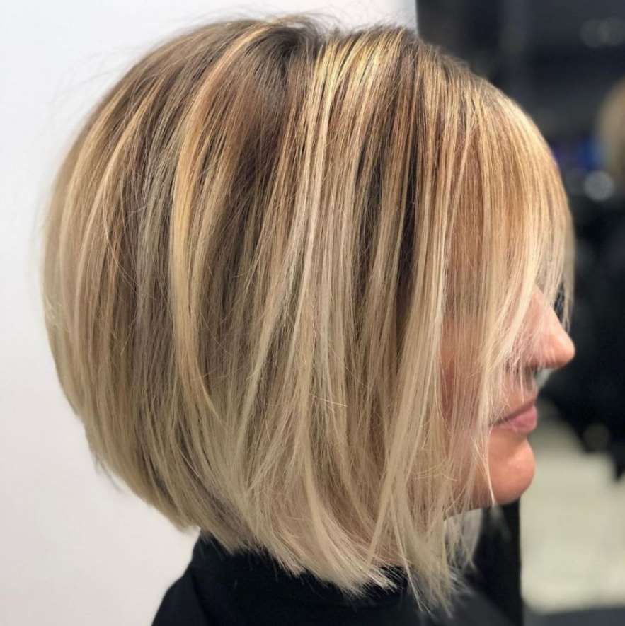 Stacked bob with blonde highlights