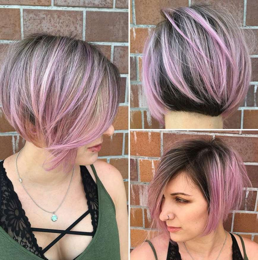 Three-tone color bob hairstyle
