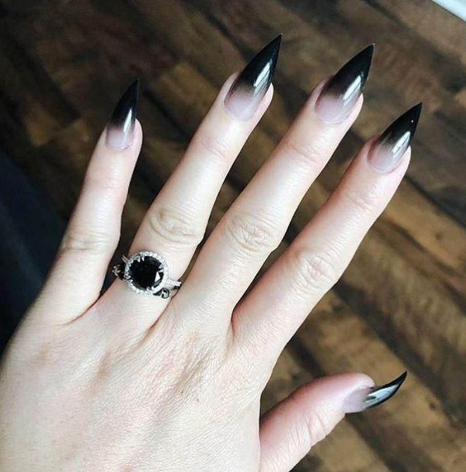 black and white ombre nails