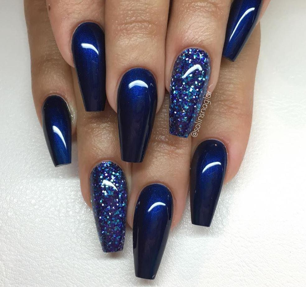 blue glitter ballerina nails