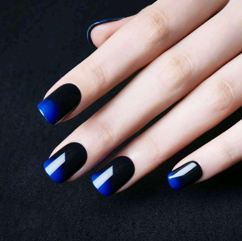 blue nail designs for short nails