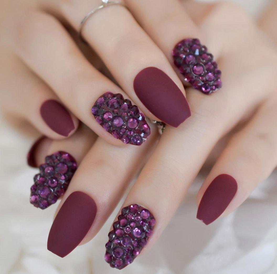 burgundy short ballerina nails