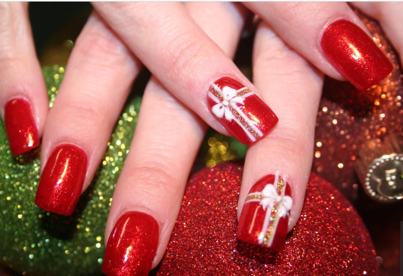 christmas ribbons nails