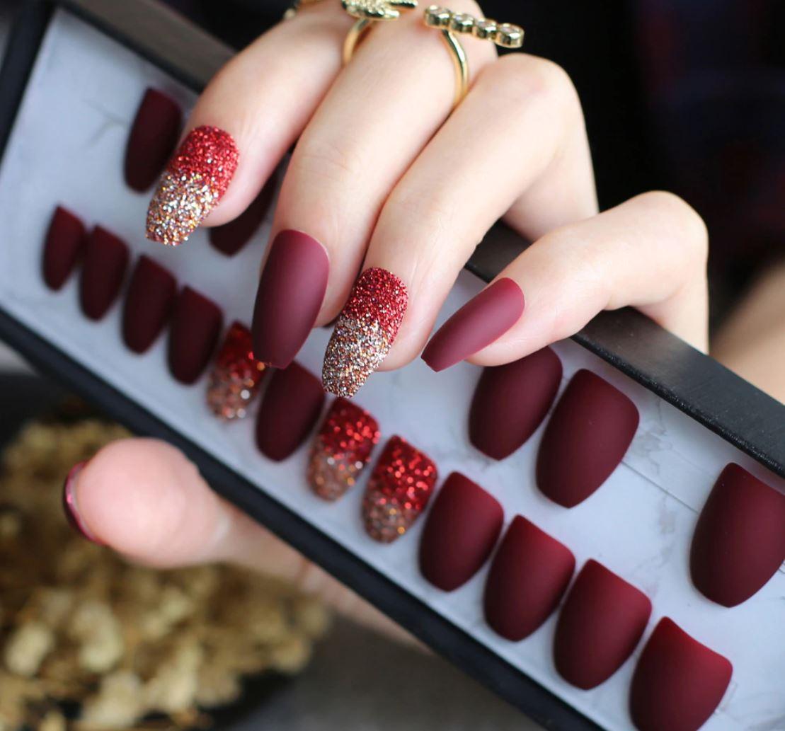 dark red ballerina nails