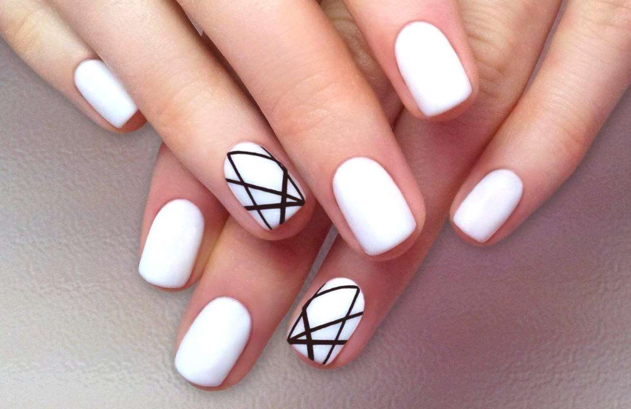 easy black and white nail designs for short nails