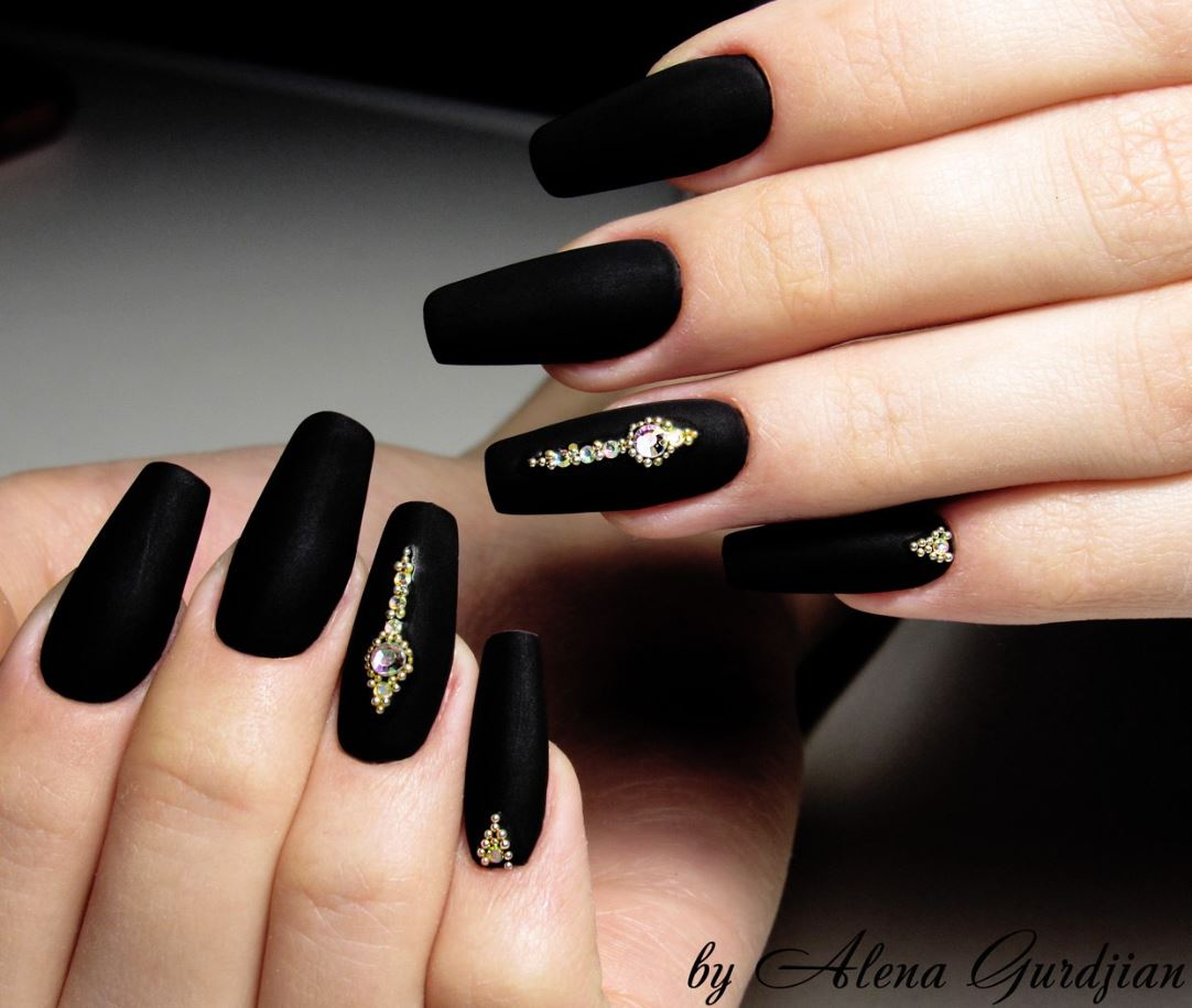 matte black ballerina nails