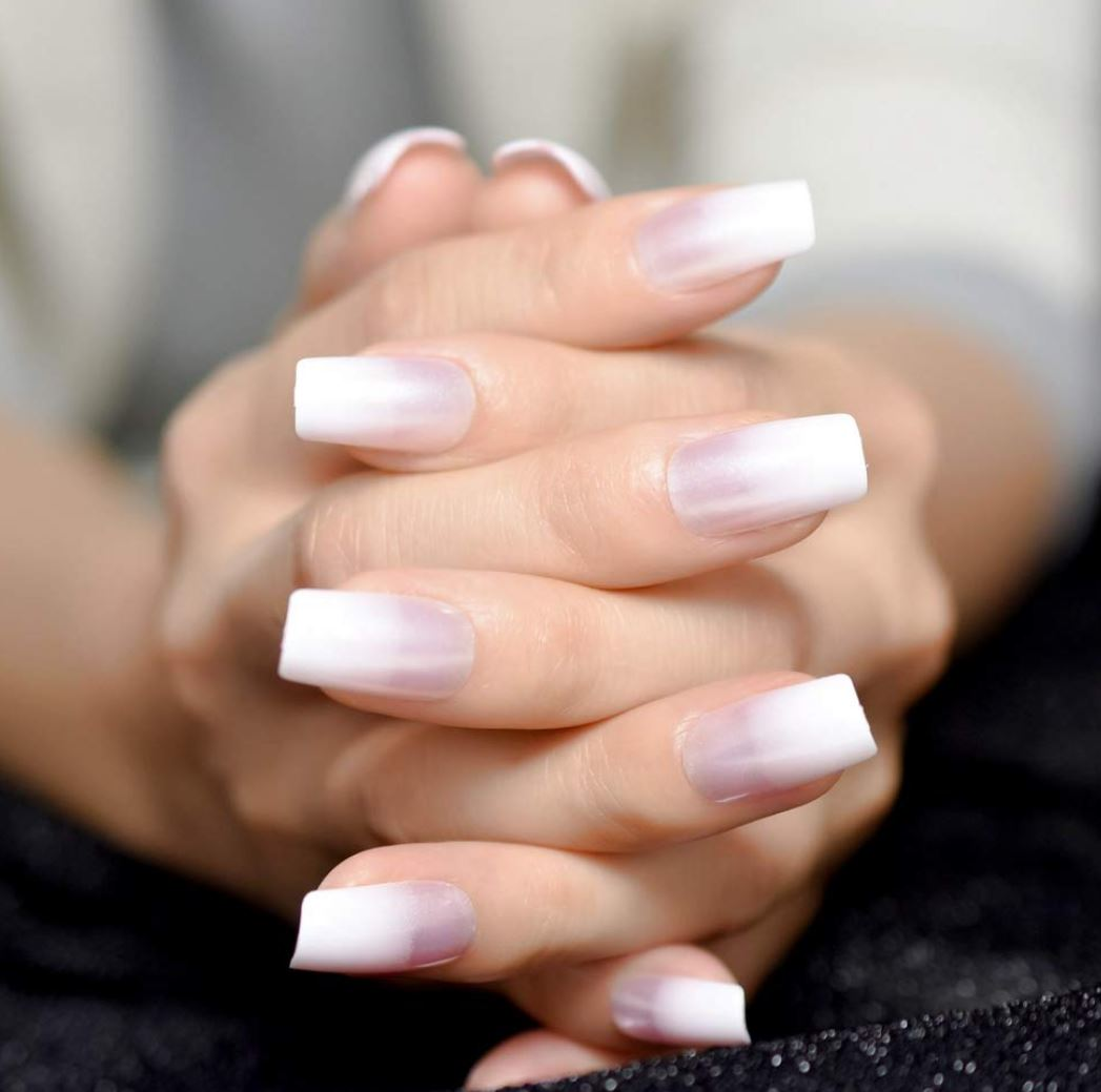 ombre nails white and pink