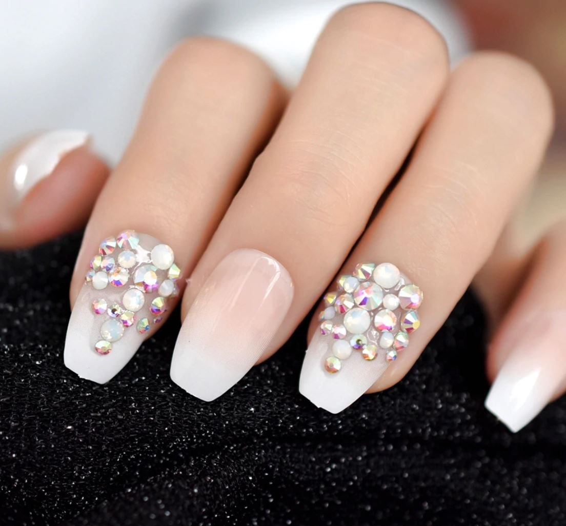 ombre nails white