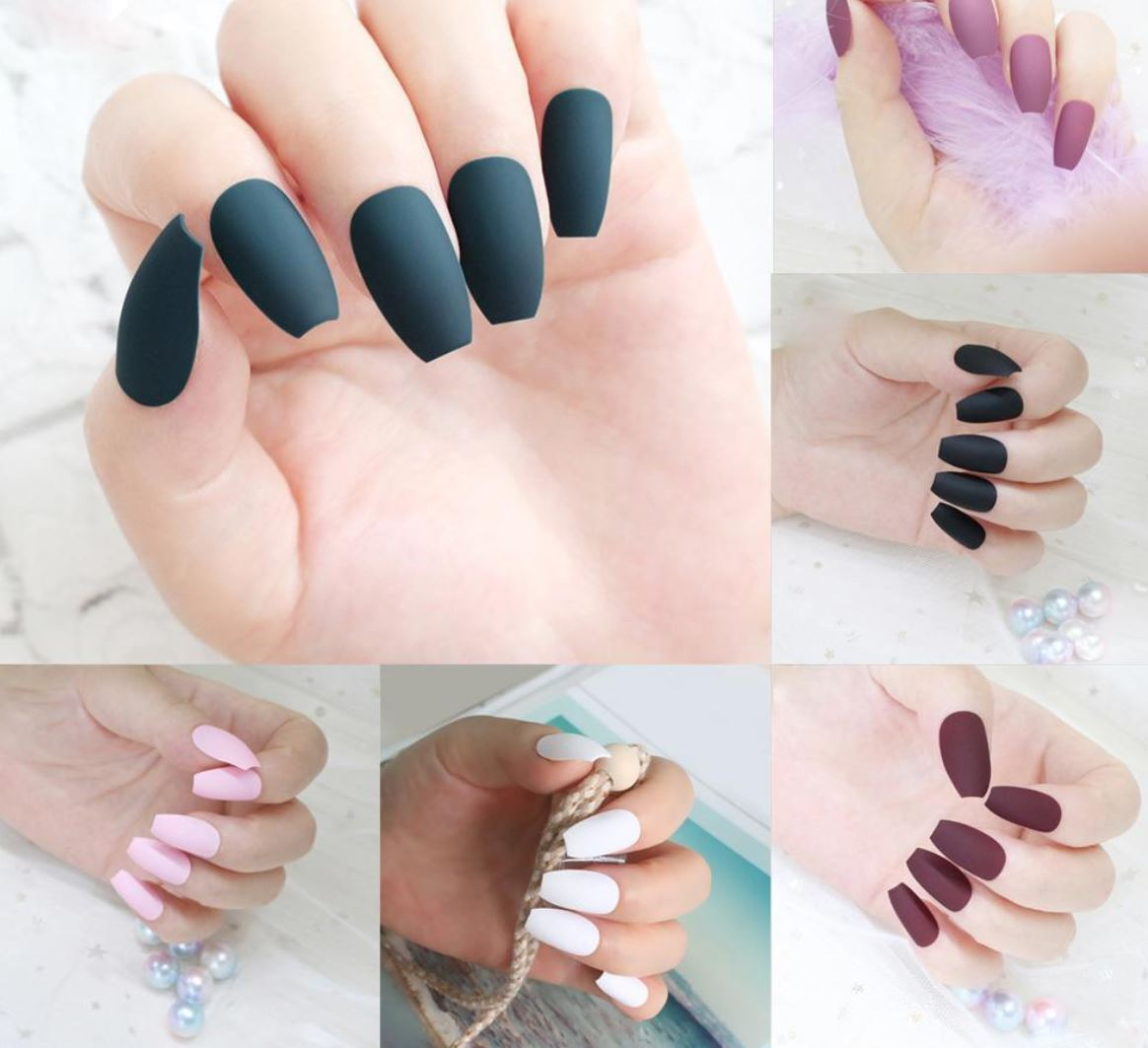 one color ballerina nails