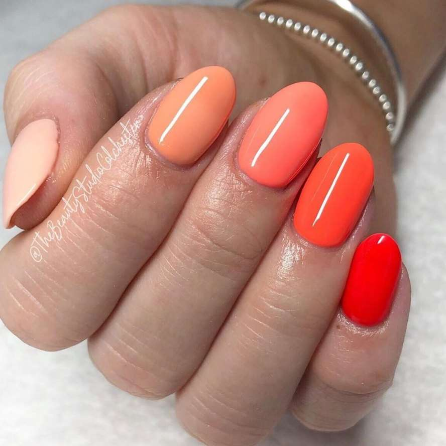 orange acrylic nails