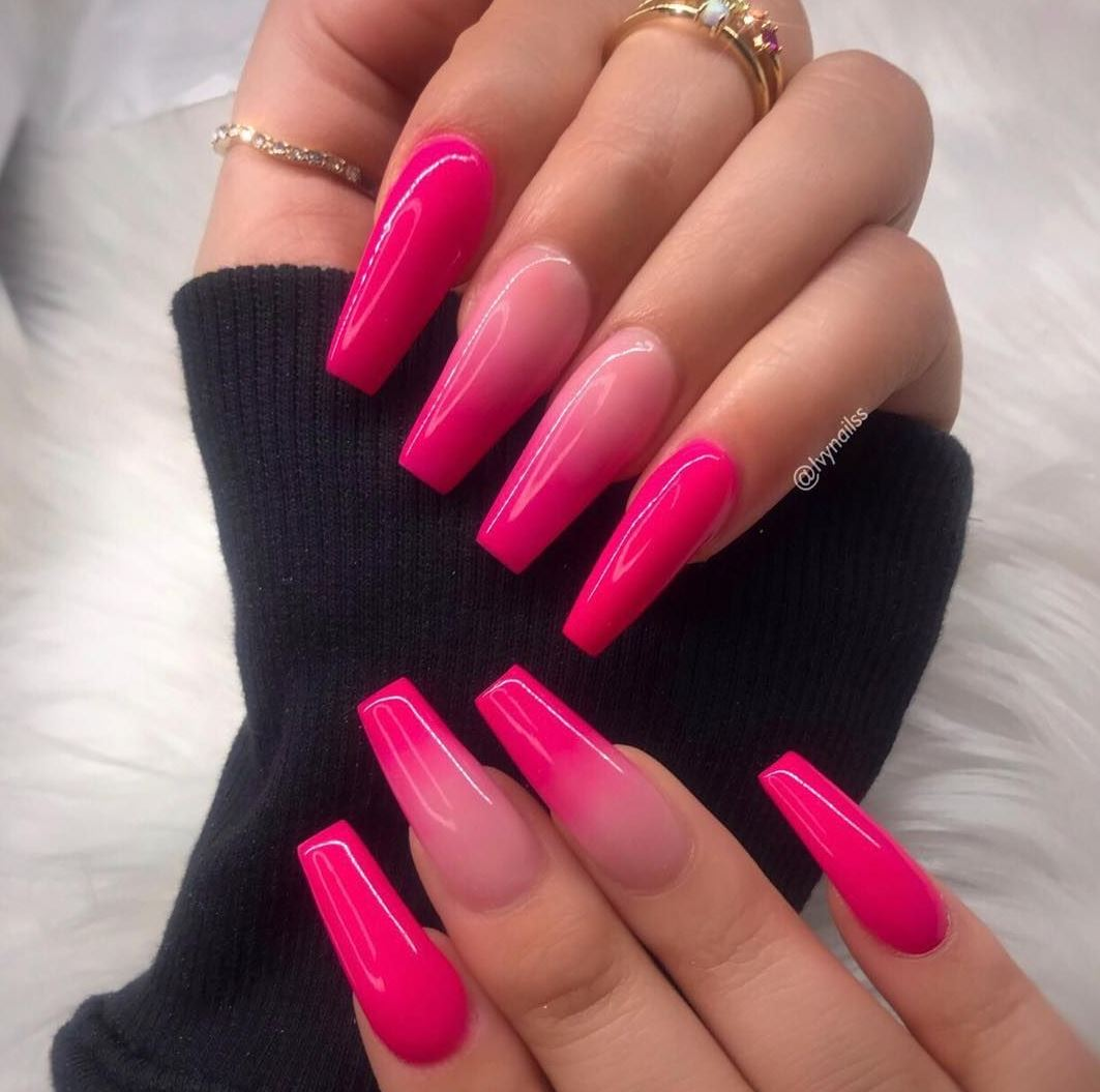 pink and white ombre acrylic nails