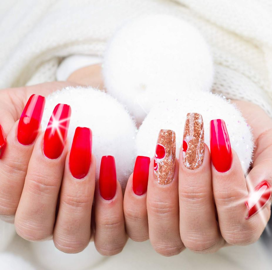 red and gold ballerina nails