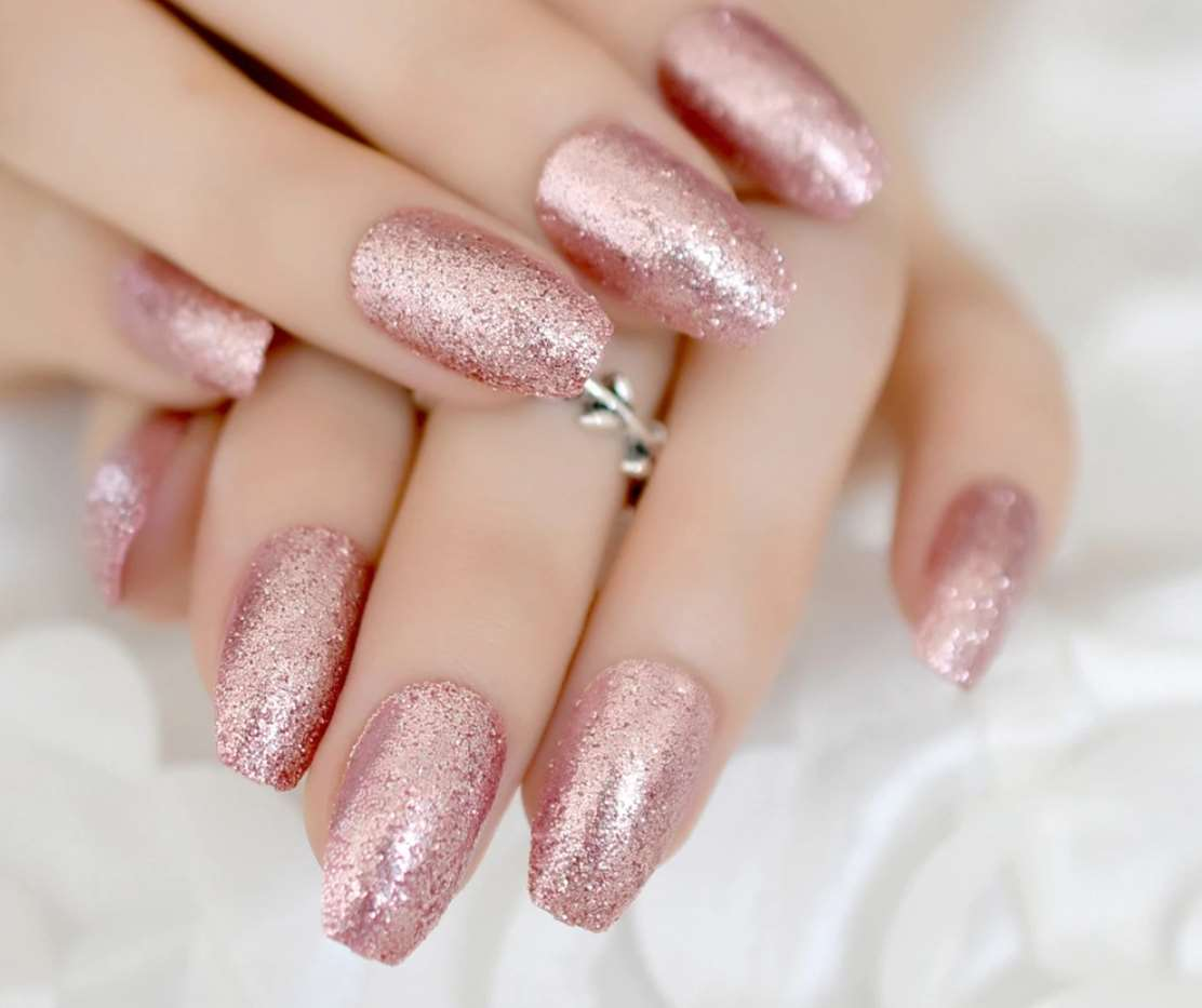 rose gold acrylic nails
