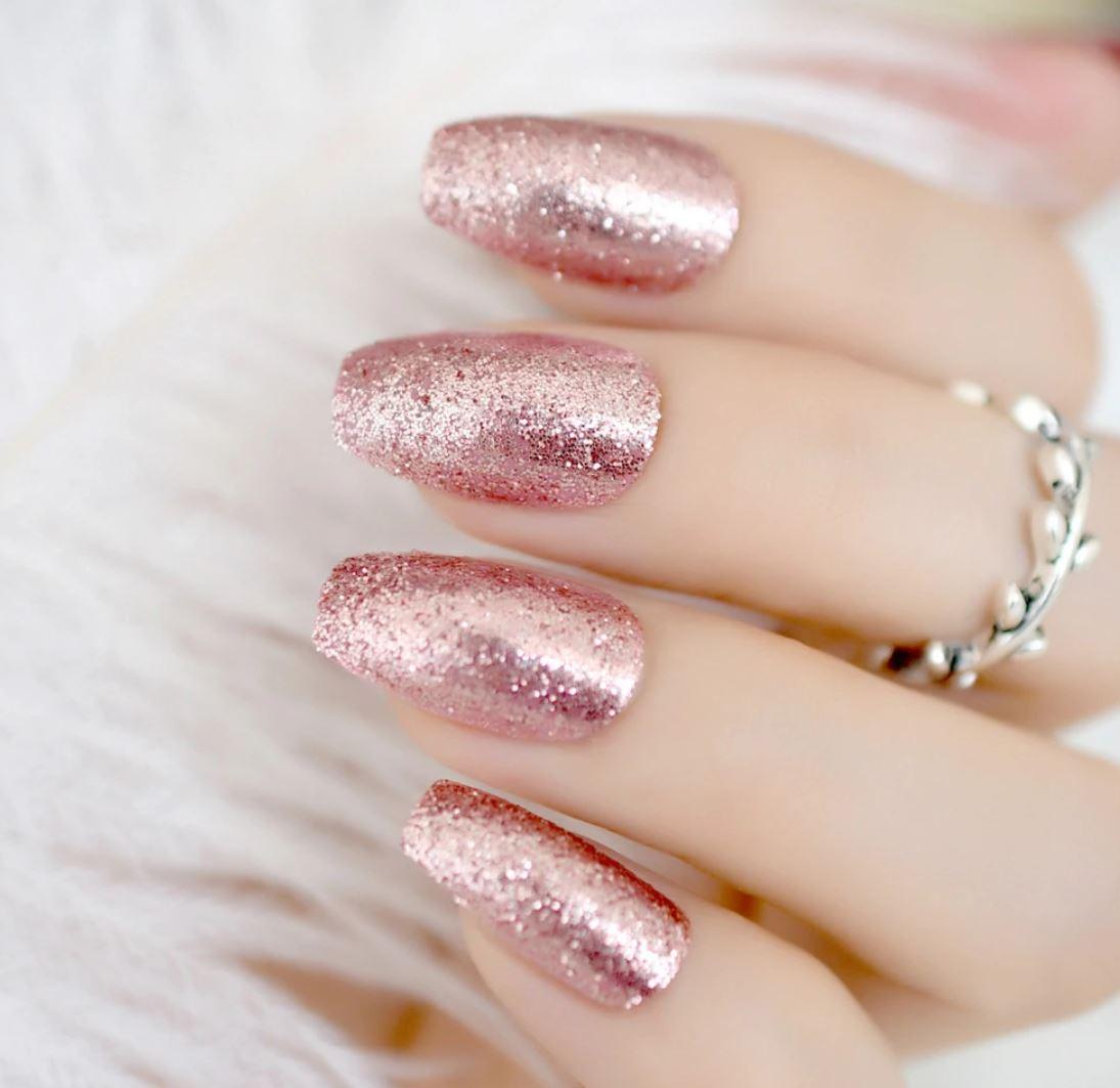 rose gold ballerina nails