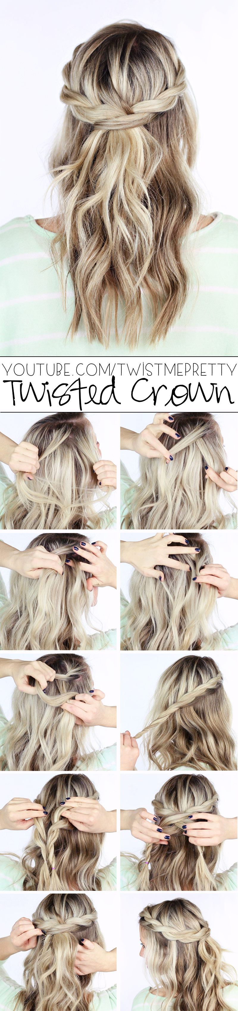 twisted crown tutorial for wedding