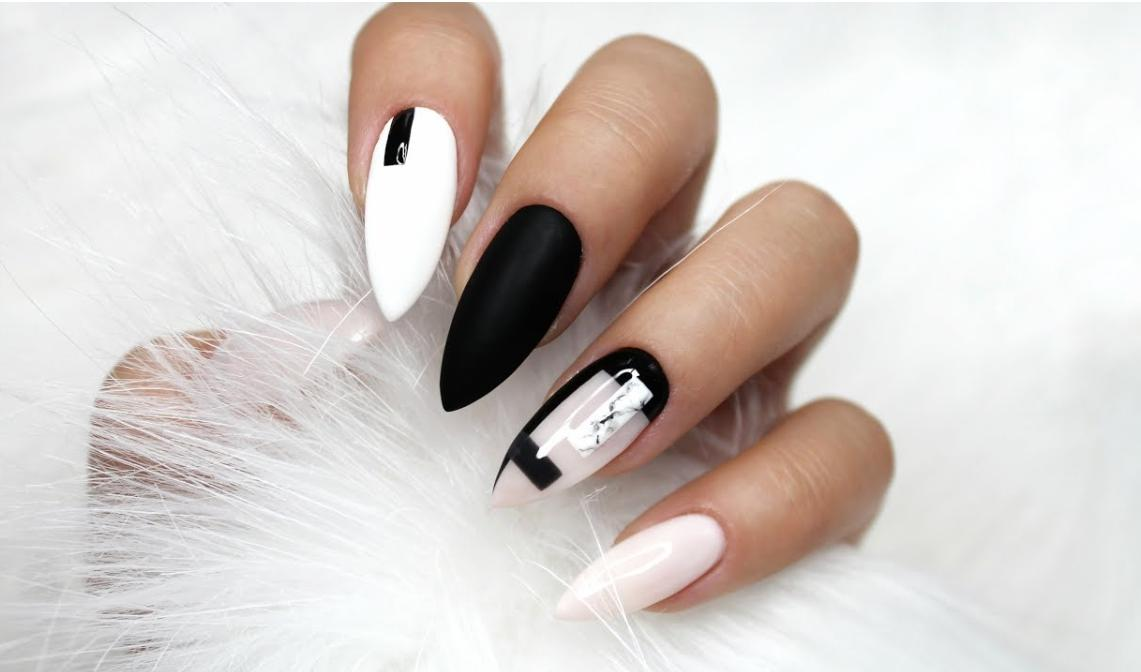 white and black nail designs