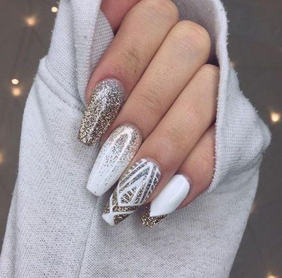 white glitter ballerina nails