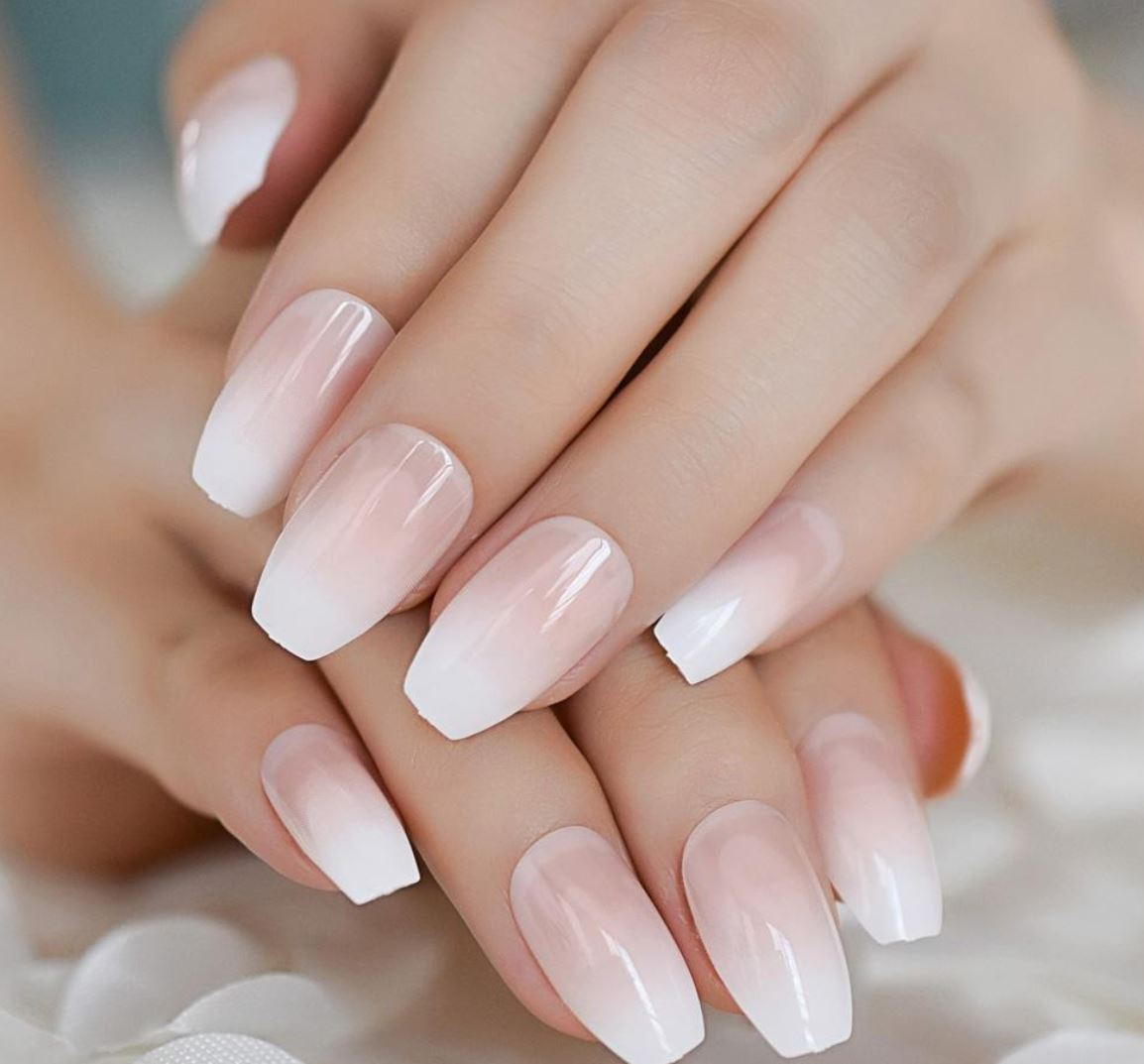 white ombre nails