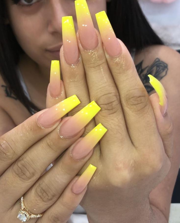 yellow ballerina nails