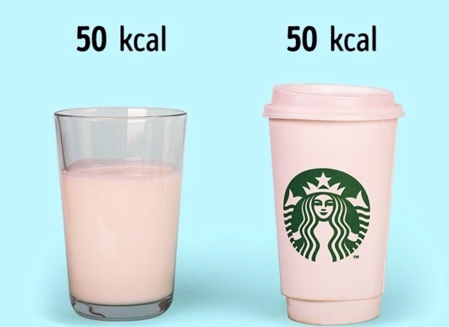 1 glass of kefir (2.5%) (50 kcal) = 1 medium cappuccino (50 kcal)