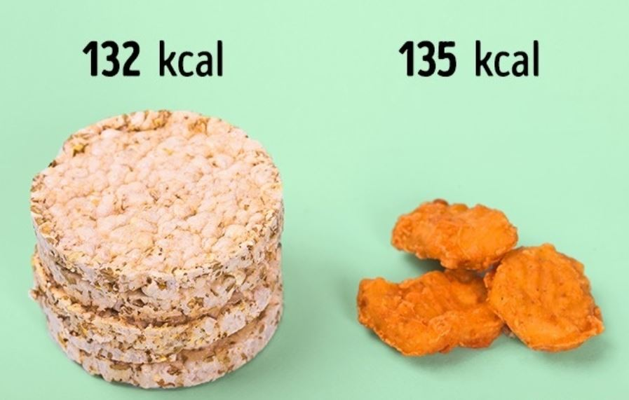1 pack of rice cakes (132 kcal) = 3 nuggets (135kcal)