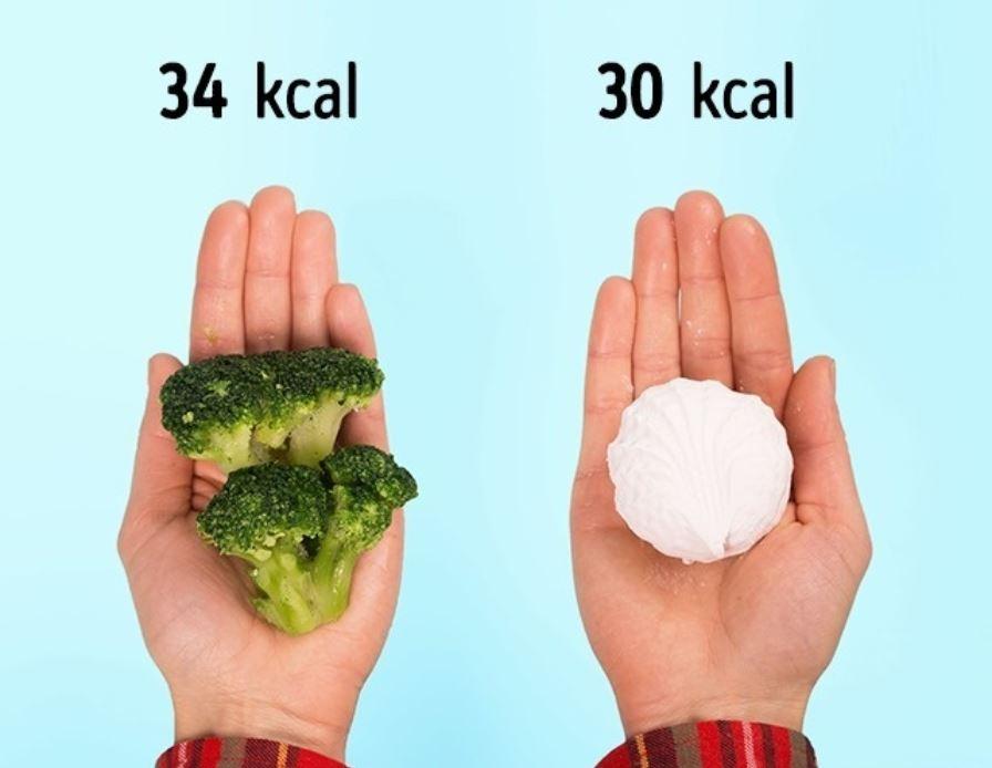 100 g of broccoli (34 kcal) = 1 marshmallow (30 kcal)