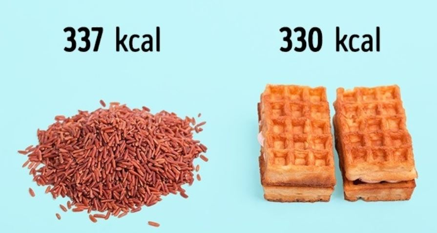 100 g of brown rice (337 kcal) = 2 Viennese waffles (330 kcal)