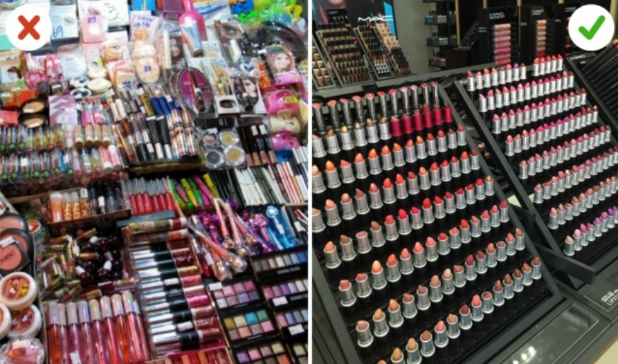 Buy cosmetics from licensed sellers just