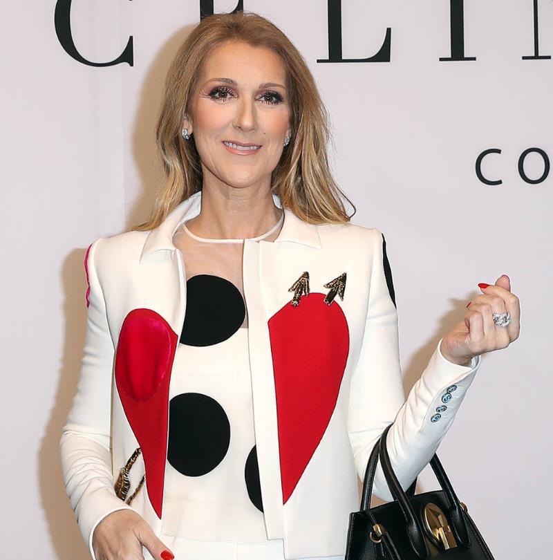 Celine Dion 2017 red nails